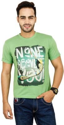 Opiumstreet Printed Men's Round Neck Light Green T-Shirt