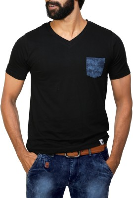 UnKonventional Solid Men's V-neck Black T-Shirt