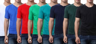 Sparkk Solid Men's Henley Multicolor T-Shirt