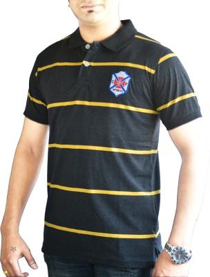 CAPRICIOUS Striped Men's Polo Neck Black, Yellow T-Shirt