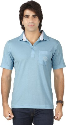 Valeta Solid Men's Polo Neck Light Blue T-Shirt