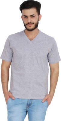CHECKERSBAY Solid Men's V-neck Grey T-Shirt