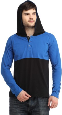 Bigidea Solid Men's Hooded Blue, Black T-Shirt