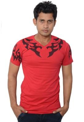 Lampara Printed Men's V-neck Red T-Shirt