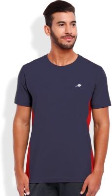 2go Solid Men's Round Neck Blue, Red T-Shirt