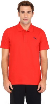 Puma Solid Men's Polo Neck Red T-Shirt