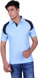 EX10 Solid Men's Polo Neck Light Blue T-...