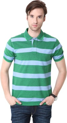 Mudo Striped Men's Mandarin Collar Green T-Shirt