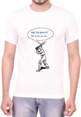 Teeswood Graphic Print Men's Round Neck White T-Shirt