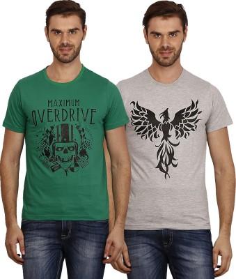 Crush on Craze Printed Men's Round Neck Green, Grey T-Shirt