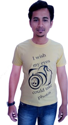 Wankies Printed Men,s, Boy's Round Neck Yellow T-Shirt