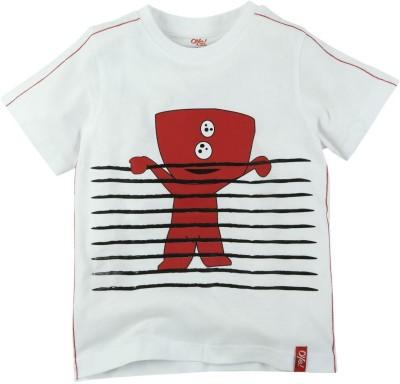 Oye Printed Baby Boy's Round Neck White T-Shirt