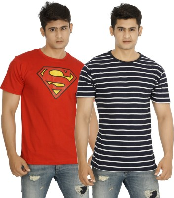 five on five Striped, Printed Men's Round Neck Multicolor T-Shirt