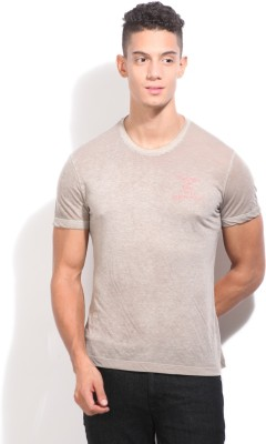 United Colors of Benetton Printed Men's Round Neck Grey T_Shirt