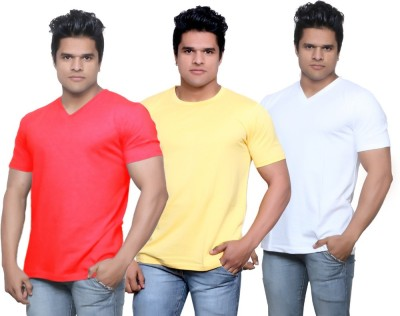 IndiStar Solid Men's Fashion Neck Red, Yellow, White T-Shirt