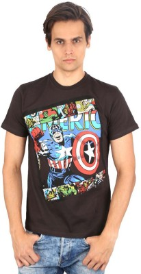 Planet Superheroes Graphic Print Men's Round Neck T-Shirt