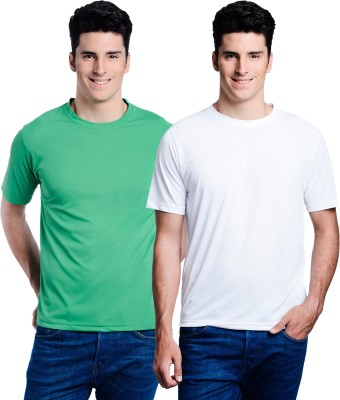 Superjoy Solid Men's Round Neck White, Green T-Shirt