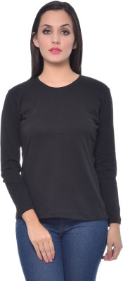 Frenchtrendz Solid Women,s Round Neck Black T-Shirt