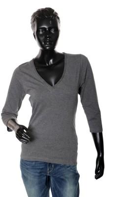 Starsy Solid Women's V-neck Grey T-Shirt