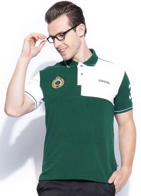 Harvard Solid Men's Polo Neck Green T-Shirt