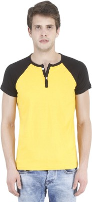 Bonzer Fashion Solid Men's Henley Yellow, Black T-Shirt