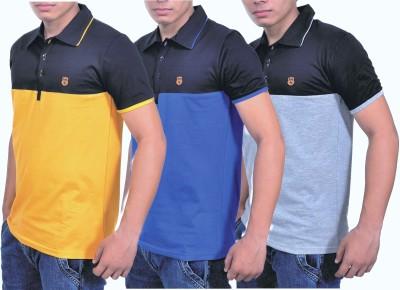 Blue 69 Striped Men's Polo Neck Multicolor T-Shirt