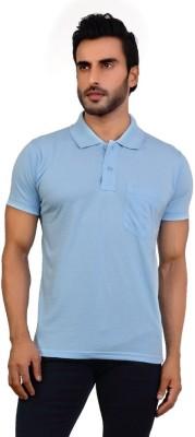 Awack Solid Men's Polo Neck Light Blue T-Shirt