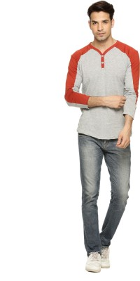 Being Crazy Solid Men,s Henley Grey T-Shirt