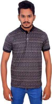 BOMBAY BLUES Printed Men's Polo Neck Black T-Shirt
