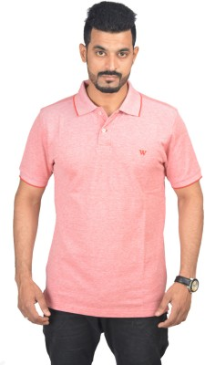 Woodside Solid Men's Polo Pink T-Shirt
