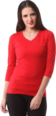 FashionExpo Solid Women's V-neck Red T-Shirt