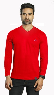 ALBITEN Solid Men's V-neck Red T-Shirt