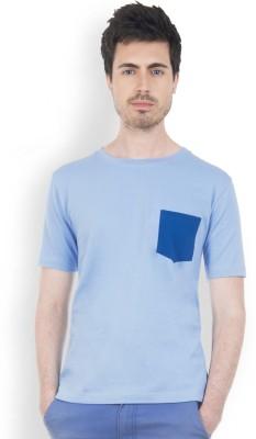 Do U Speak Green Solid Men's Round Neck Blue T-Shirt