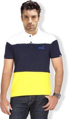 Erdferkel & Wobbegong Solid Men's Polo Neck White, Dark Blue, Yellow T-Shirt