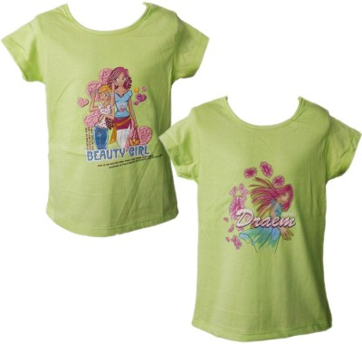 Melisa Graphic Print Girl's Round Neck Green T-Shirt