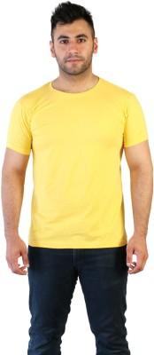 Acomharc Solid Men's Round Neck Yellow T-Shirt