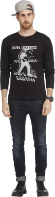 Cali Republic Printed Men's Round Neck Black, Grey T-Shirt