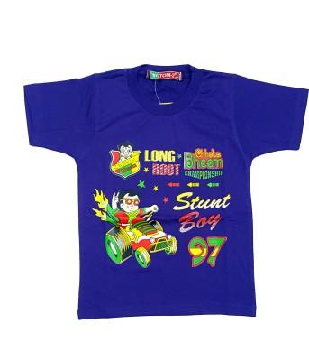 Groverz Printed Boy's Round Neck Purple T-Shirt