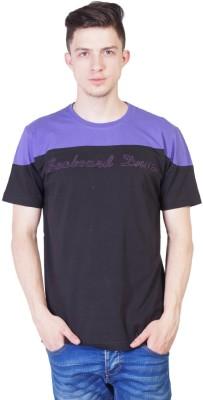 SEABOARD Printed Men's Round Neck Black, Purple T-Shirt