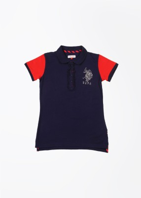 U.S. Polo Assn. Solid Girl,s Polo Blue T-Shirt