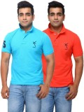 Yross Solid Men's Polo Neck Multicolor T...