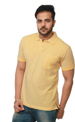 Amstead Solid Men's Polo Neck Yellow T-Shirt