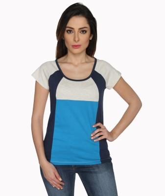 Bombay High Solid Women,s Round Neck Blue, White T-Shirt