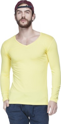 Tinted Solid Men's V-neck Yellow T-Shirt