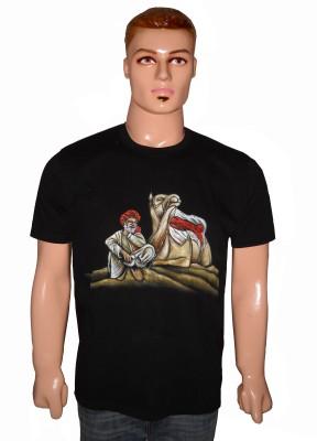 Vastra Heritage Self Design Men's Round Neck T-Shirt