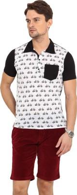 Northern Lights Printed Men's Polo Neck Black, White T-Shirt