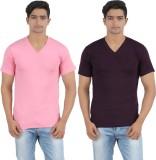 Lyril Solid Men's V-neck Pink, Black T-S...
