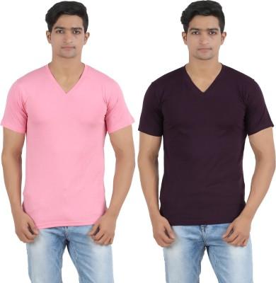Lyril Solid Men's V-neck Pink, Black T-Shirt