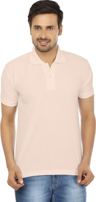 Forever19 Solid Men's Polo Neck Beige T-Shirt