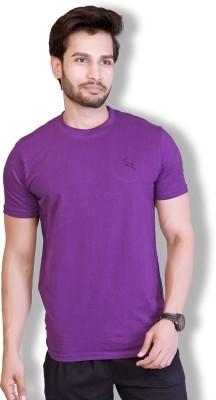 LUCfashion Solid Mens Round Neck Purple T-Shirt